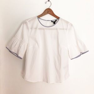 J. Crew White Blue Button Back Bell Sleeve Blouse